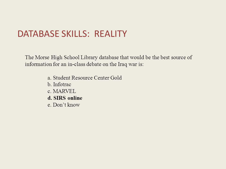 DATABASE SKILLS: REALITY The Morse High School Library database that would be the best source of information for an in-class debate on the Iraq war is: a.