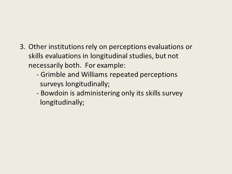 3.Other institutions rely on perceptions evaluations or skills evaluations in longitudinal studies, but not necessarily both. For example: - Grimble a