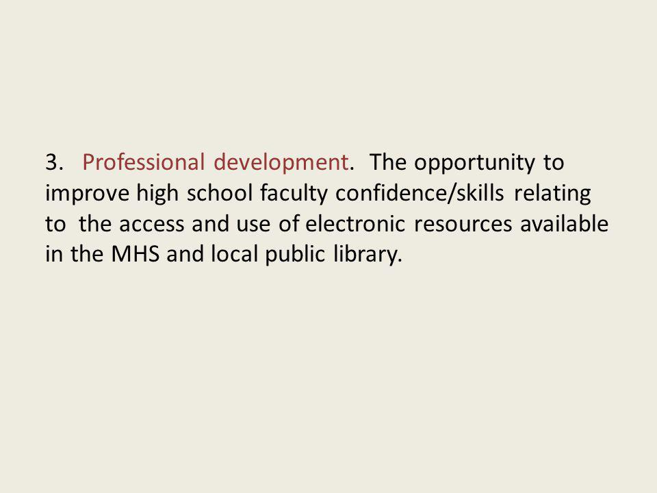 3. Professional development.