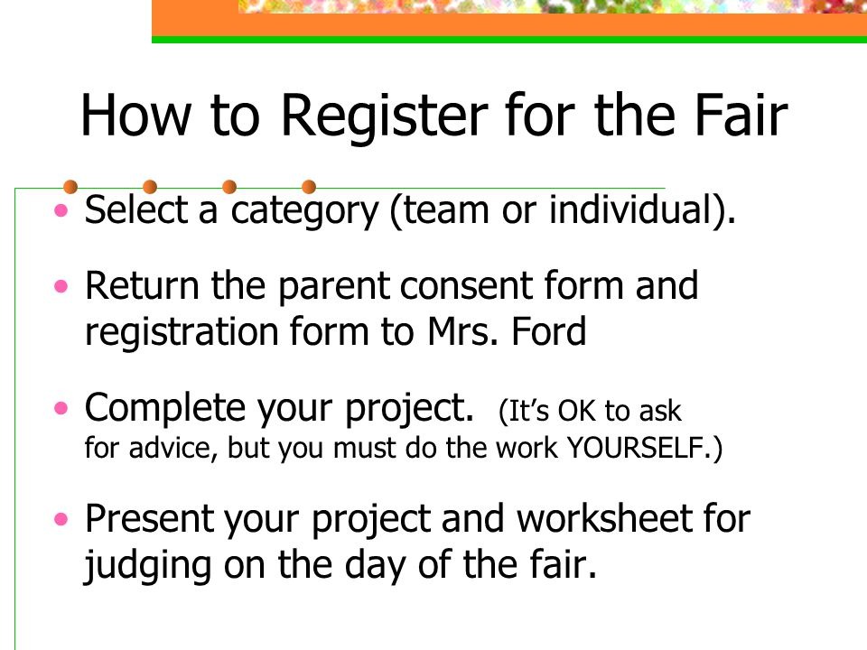 How to Register for the Fair Select a category (team or individual).