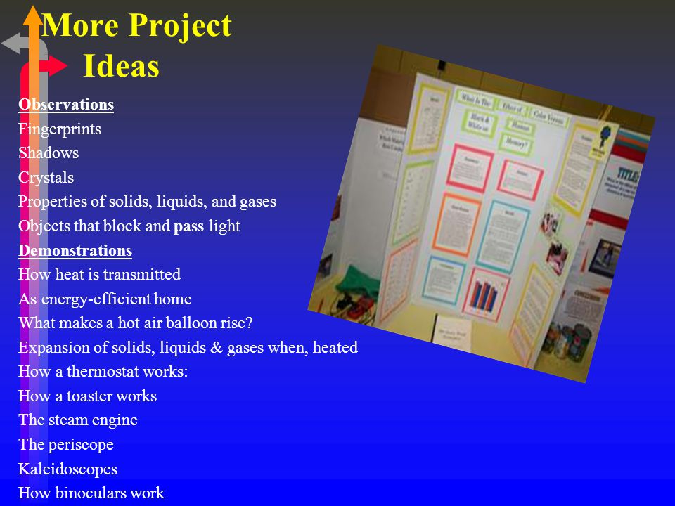 More Project Ideas Observations Fingerprints Shadows Crystals Properties of solids, liquids, and gases Objects that block and pass light Demonstrations How heat is transmitted As energy-efficient home What makes a hot air balloon rise.