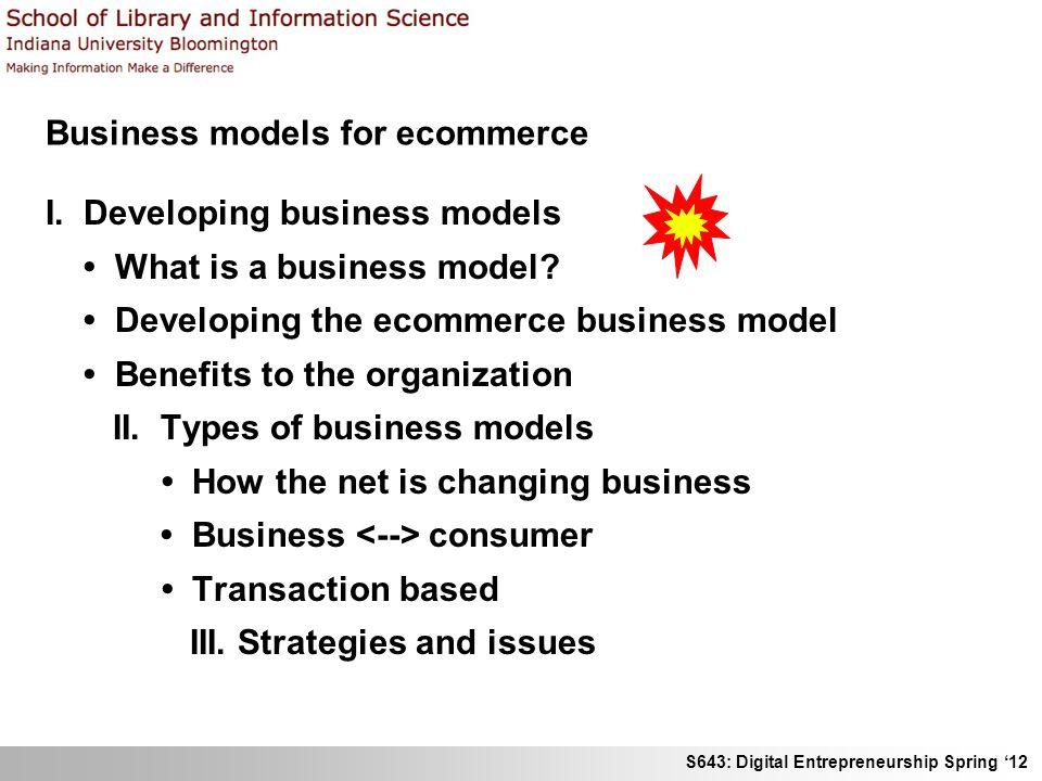 S643: Digital Entrepreneurship Spring 12 I.Developing business models EURESCOM.