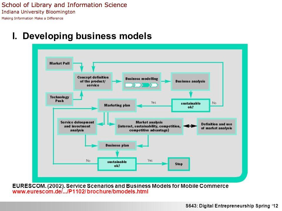 S643: Digital Entrepreneurship Spring 12 I. Developing business models EURESCOM. (2002). Service Scenarios and Business Models for Mobile Commerce www