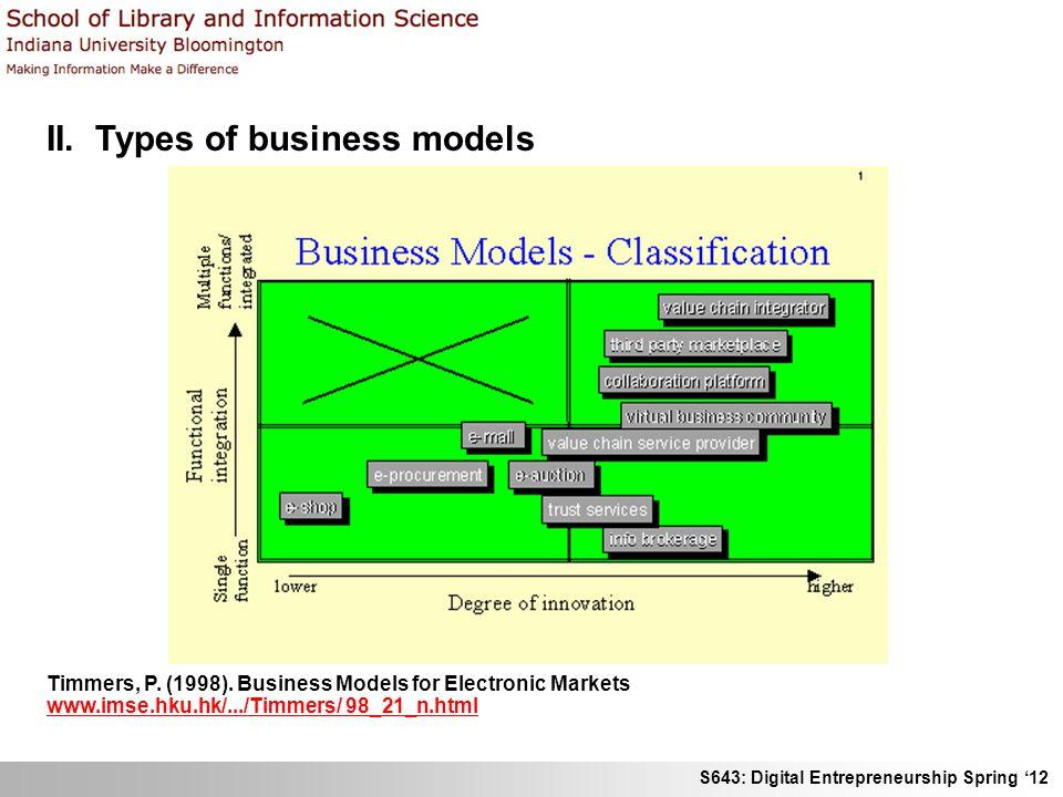 S643: Digital Entrepreneurship Spring 12 II. Types of business models Timmers, P. (1998). Business Models for Electronic Markets www.imse.hku.hk/.../T