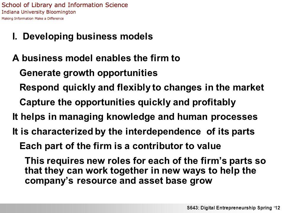 S643: Digital Entrepreneurship Spring 12 Business models for ecommerce I.
