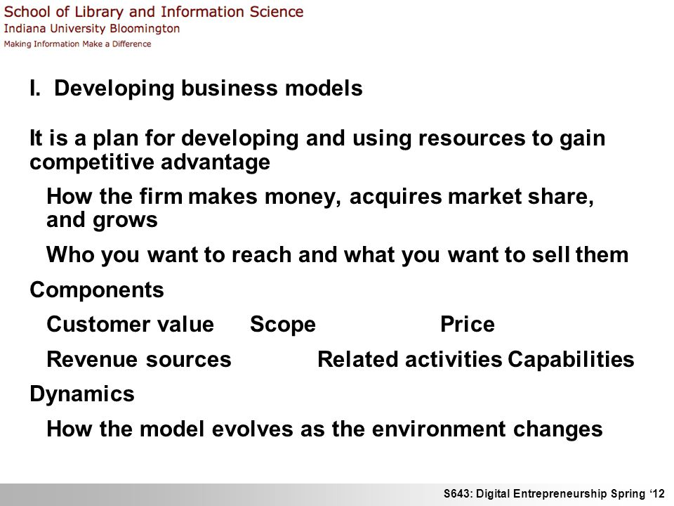 S643: Digital Entrepreneurship Spring 12 I.