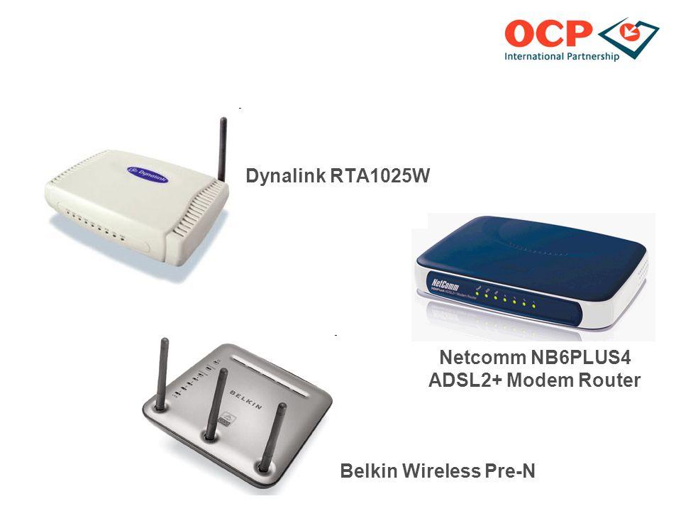 Dynalink RTA1025W Netcomm NB6PLUS4 ADSL2+ Modem Router Belkin Wireless Pre-N