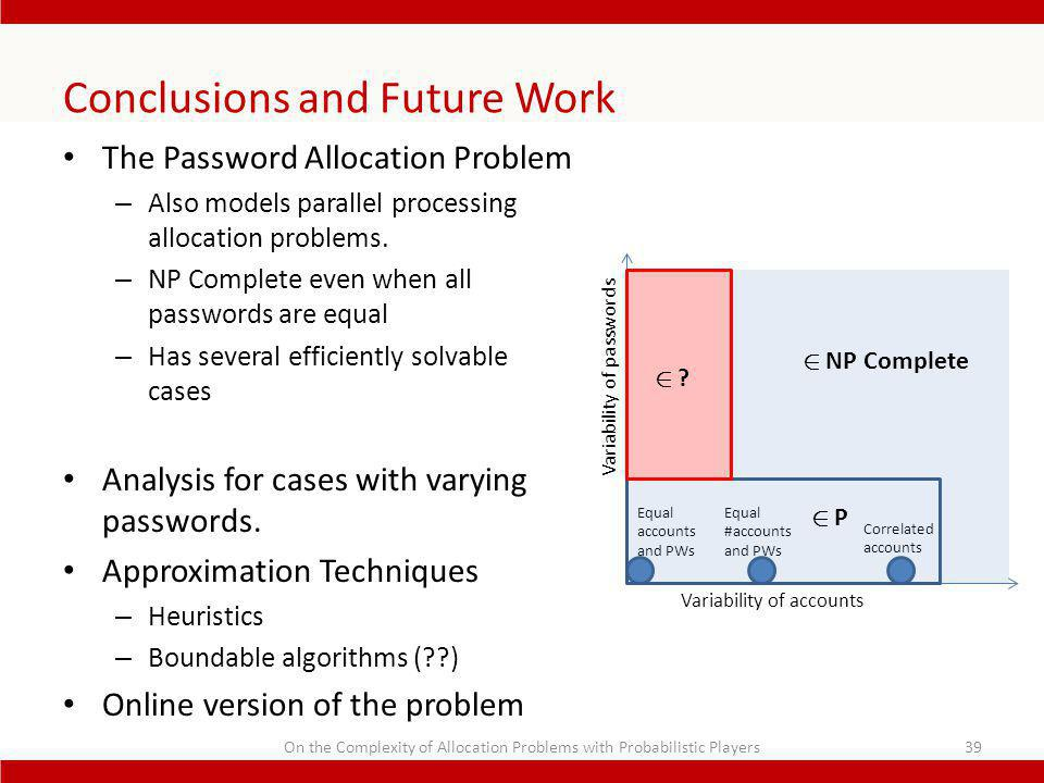 Conclusions and Future Work The Password Allocation Problem – Also models parallel processing allocation problems.
