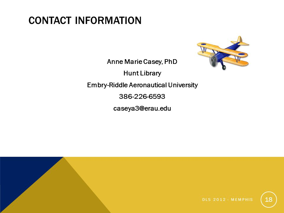 CONTACT INFORMATION Anne Marie Casey, PhD Hunt Library Embry-Riddle Aeronautical University 386-226-6593 caseya3@erau.edu 18 DLS 2012 - MEMPHIS
