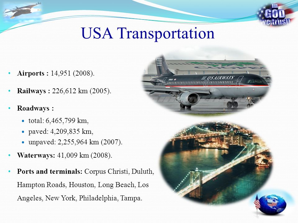 USA Transportation Airports : 14,951 (2008). Railways : 226,612 km (2005). Waterways: 41,009 km (2008). Ports and terminals: Corpus Christi, Duluth, H