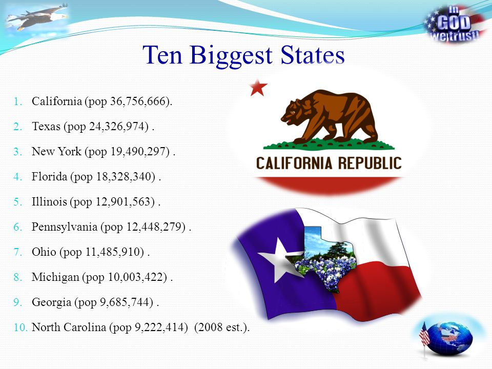 Ten Biggest States 1. California (pop 36,756,666). 2. Texas (pop 24,326,974). 3. New York (pop 19,490,297). 4. Florida (pop 18,328,340). 5. Illinois (