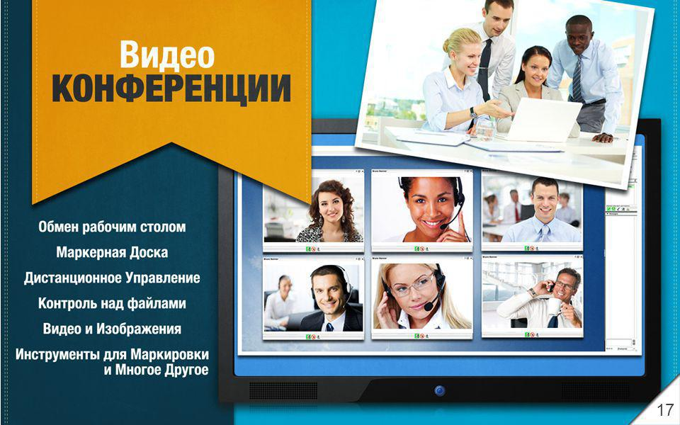 Video CONFERENCING Desktop Sharing Whiteboard Remote Control File Share Video and Pictures Drawing Tools and Much More 17
