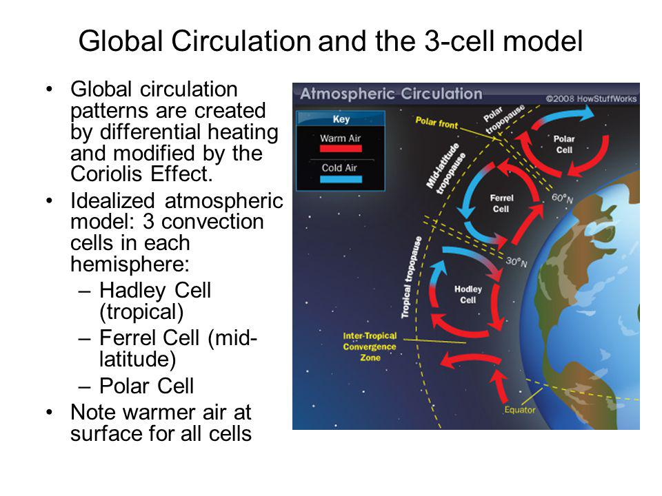 Global Circulation and the 3-cell model Global circulation patterns are created by differential heating and modified by the Coriolis Effect. Idealized