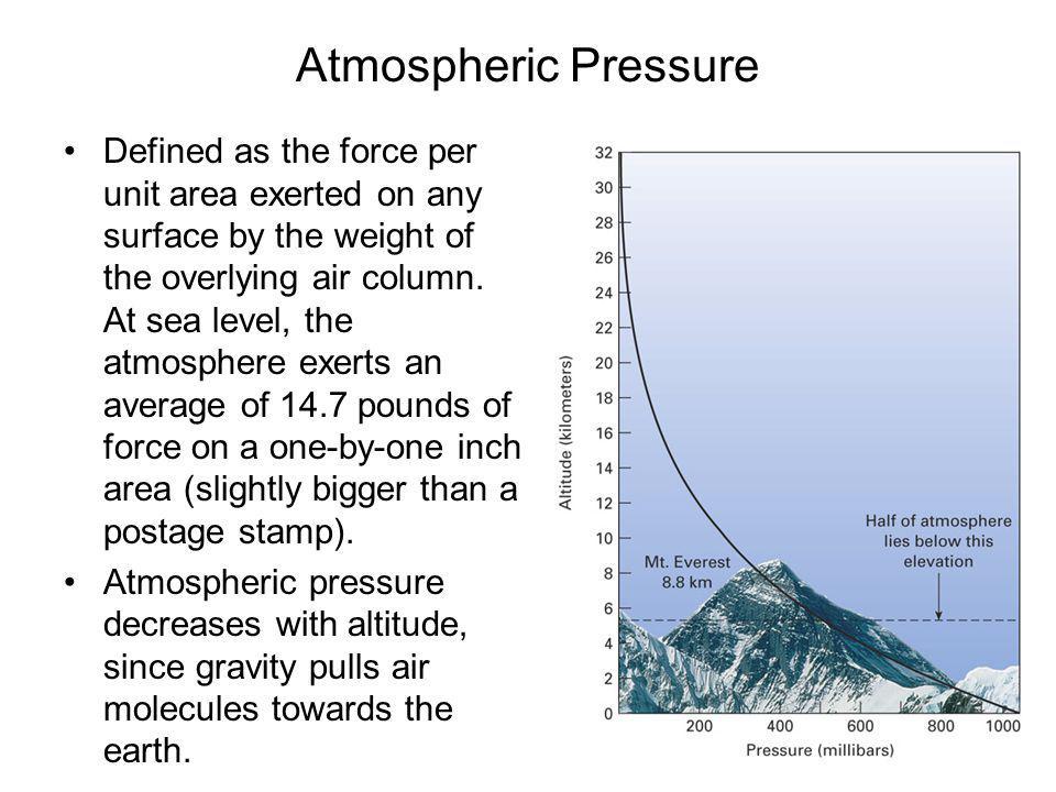 Atmospheric pressure units Atmospheric pressure is often measured in millibars (1000 mb = 1 bar).