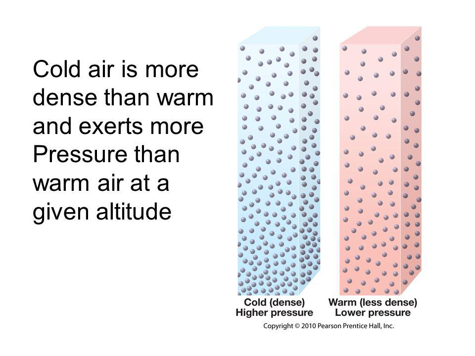 Pressure and wind Cool (or dry) air is denser than warm –This air exerts a higher pressure than warm air and will tend to sink, –Compressional (adiabatic) warming prevents saturation and cloud formation –High pressure often associated with good weather