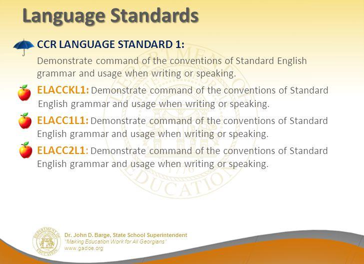 Dr. John D. Barge, State School Superintendent Making Education Work for All Georgians www.gadoe.org Language Standards CCR LANGUAGE STANDARD 1: Demon