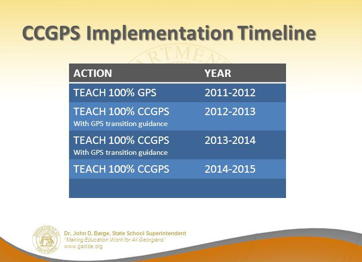 Dr. John D. Barge, State School Superintendent Making Education Work for All Georgians www.gadoe.org CCGPS Implementation Timeline ACTIONYEAR TEACH 10