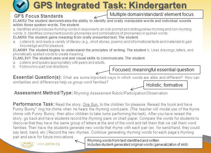 Dr. John D. Barge, State School Superintendent Making Education Work for All Georgians www.gadoe.org GPS Integrated Task: Kindergarten GPS Focus Stand