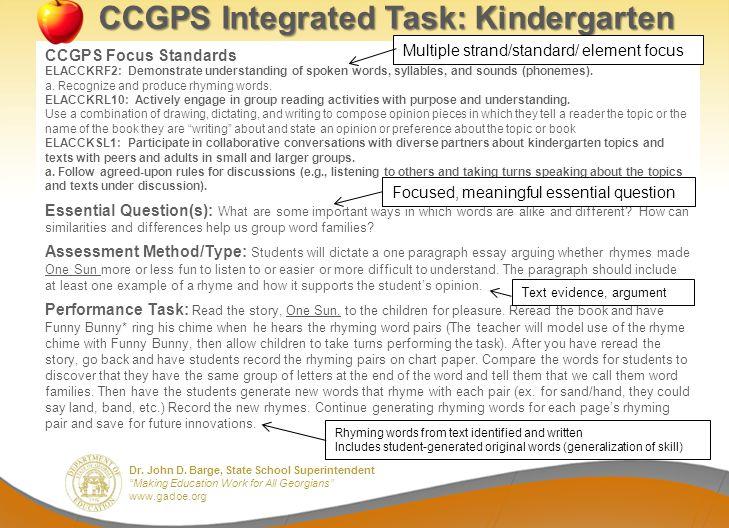 Dr. John D. Barge, State School Superintendent Making Education Work for All Georgians www.gadoe.org CCGPS Integrated Task: Kindergarten CCGPS Focus S