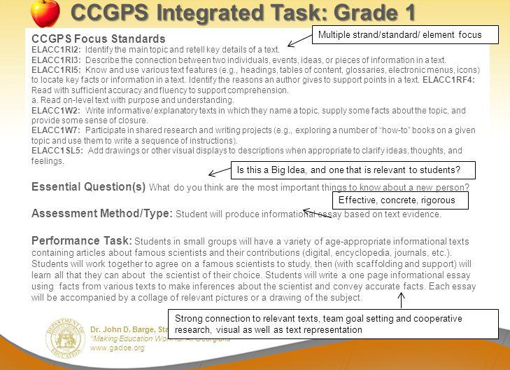 Dr. John D. Barge, State School Superintendent Making Education Work for All Georgians www.gadoe.org CCGPS Integrated Task: Grade 1 CCGPS Focus Standa