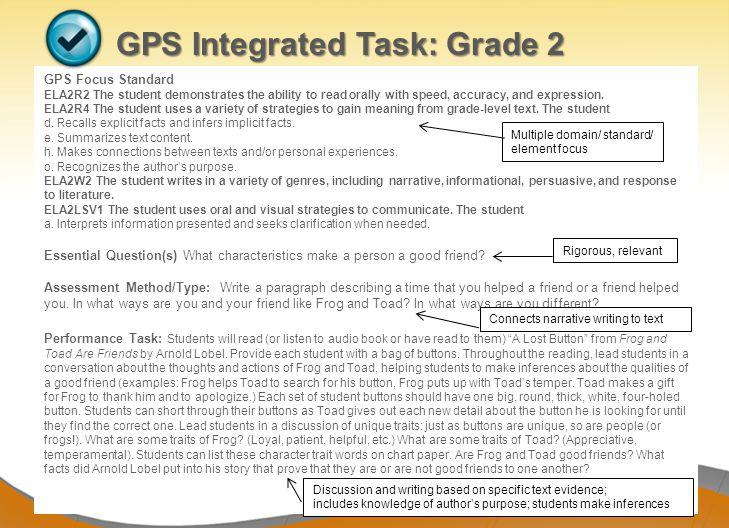 Dr. John D. Barge, State School Superintendent Making Education Work for All Georgians www.gadoe.org GPS Integrated Task: Grade 2 GPS Focus Standard E