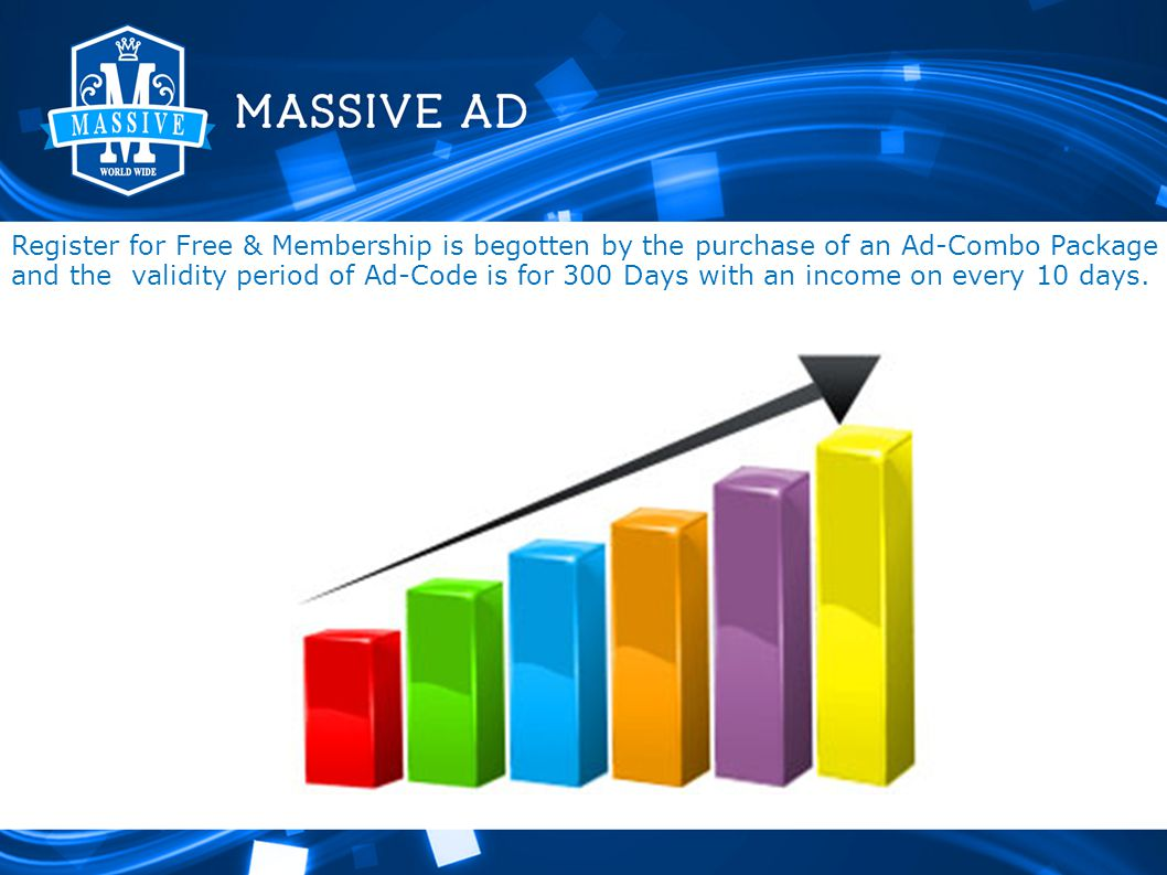 Register for Free & Membership is begotten by the purchase of an Ad-Combo Package and the validity period of Ad-Code is for 300 Days with an income on every 10 days.