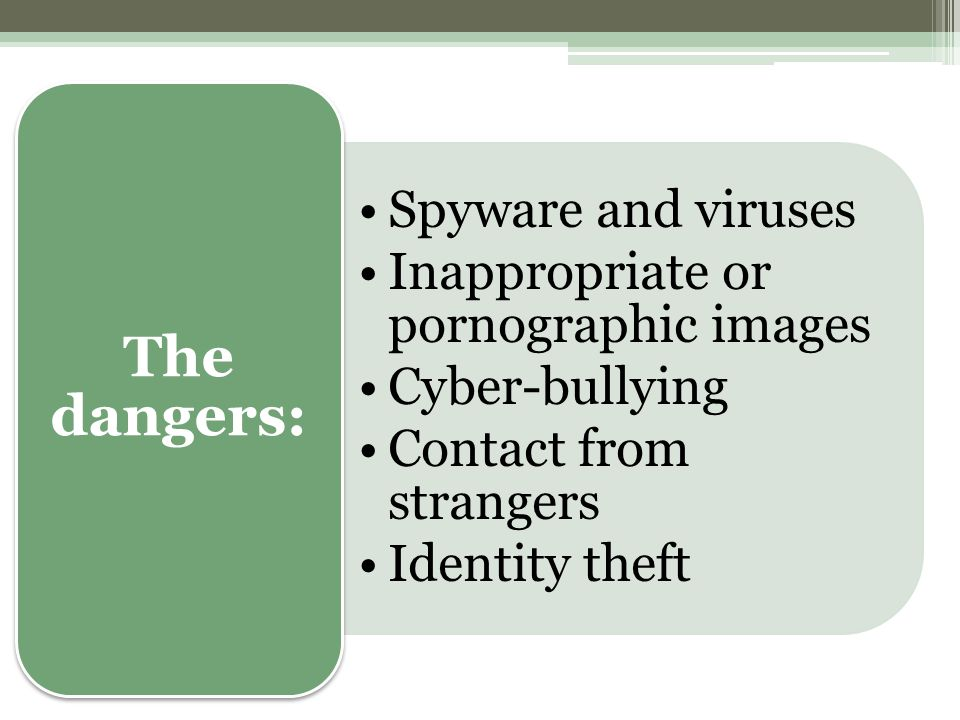 Spyware and viruses Inappropriate or pornographic images Cyber-bullying Contact from strangers Identity theft The dangers: