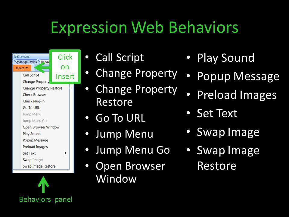 Expression Web Behaviors Call Script Change Property Change Property Restore Go To URL Jump Menu Jump Menu Go Open Browser Window Play Sound Popup Message Preload Images Set Text Swap Image Swap Image Restore Behaviors panel Click on Insert