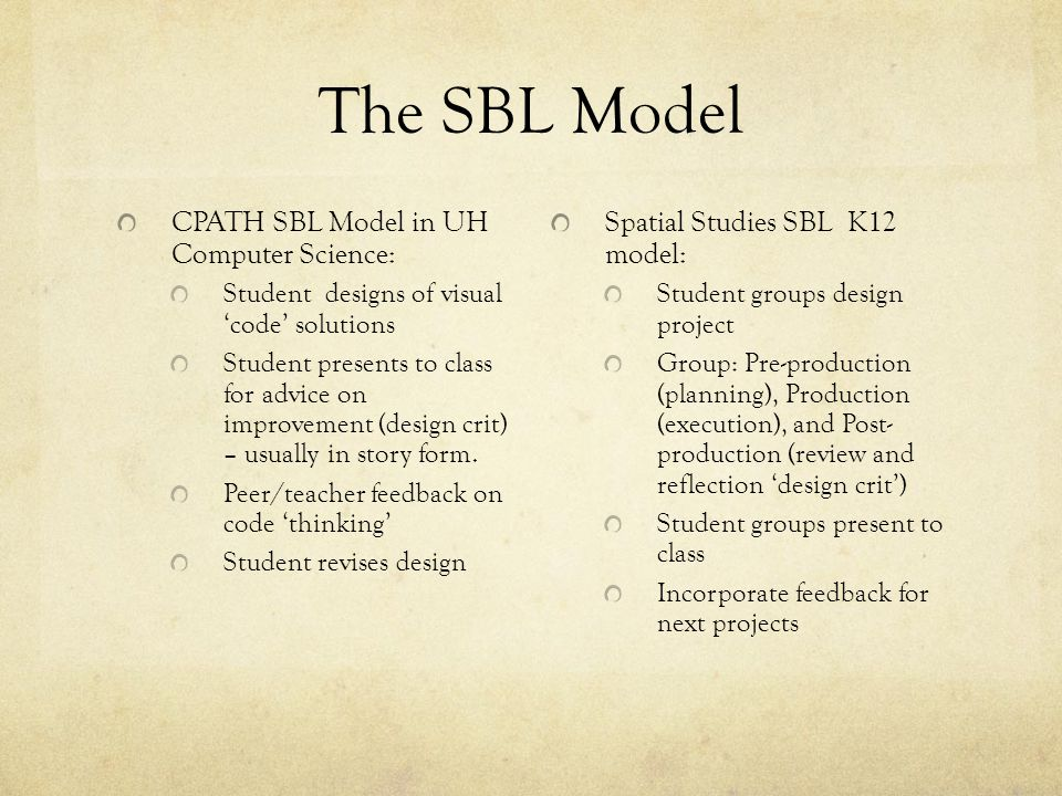 The SBL Model CPATH SBL Model in UH Computer Science: Student designs of visual code solutions Student presents to class for advice on improvement (de