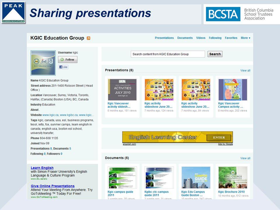 Sharing presentations