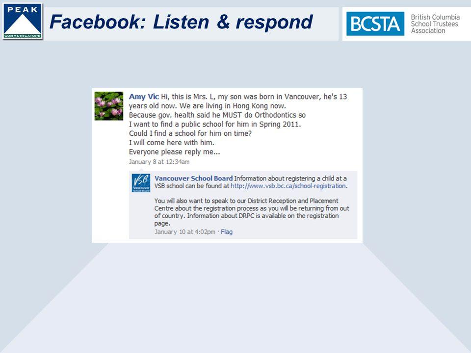 Facebook: Listen & respond
