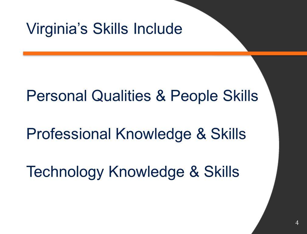 Virginias Skills Include Personal Qualities & People Skills Professional Knowledge & Skills Technology Knowledge & Skills 4