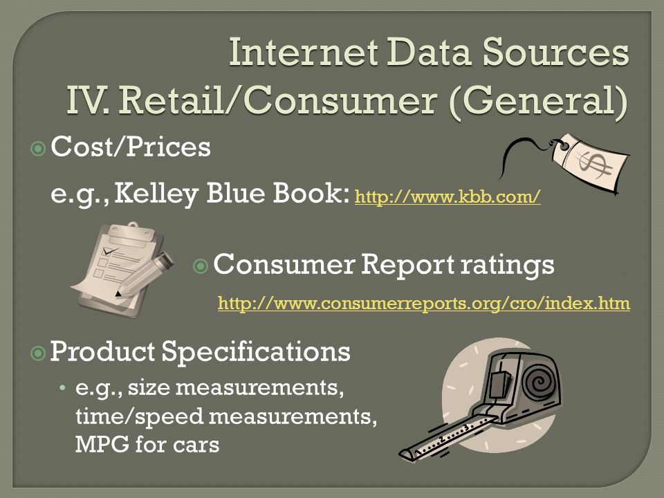 Internet Data Sources IV.