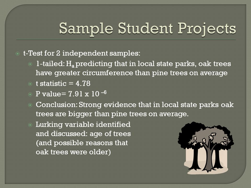 t-Test for 2 independent samples: 1-tailed: H a predicting that in local state parks, oak trees have greater circumference than pine trees on average t statistic = 4.78 P value= 7.91 x 10 –6 Conclusion: Strong evidence that in local state parks oak trees are bigger than pine trees on average.