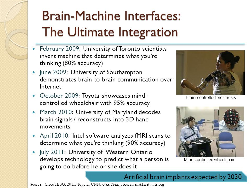Brain-Machine Interfaces: The Ultimate Integration February 2009: University of Toronto scientists invent machine that determines what youre thinking (80% accuracy) June 2009: University of Southampton demonstrates brain-to-brain communication over Internet October 2009: Toyota showcases mind- controlled wheelchair with 95% accuracy March 2010: University of Maryland decodes brain signals / reconstructs into 3D hand movements April 2010: Intel software analyzes fMRI scans to determine what youre thinking (90% accuracy) July 2011: University of Western Ontario develops technology to predict what a person is going to do before he or she does it Artificial brain implants expected by 2030 Brain-controlled prosthesis Mind-controlled wheelchair Source: Cisco IBSG, 2011; Toyota; CNN; USA Today; KurzweilAI.net; wfs.org