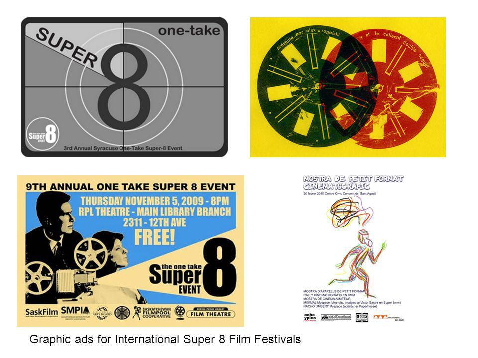 Graphic ads for International Super 8 Film Festivals