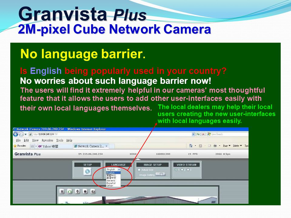 Granvista Plus 2M-pixel Cube Network Camera The local dealers may help their local users creating the new user-interfaces with local languages easily.