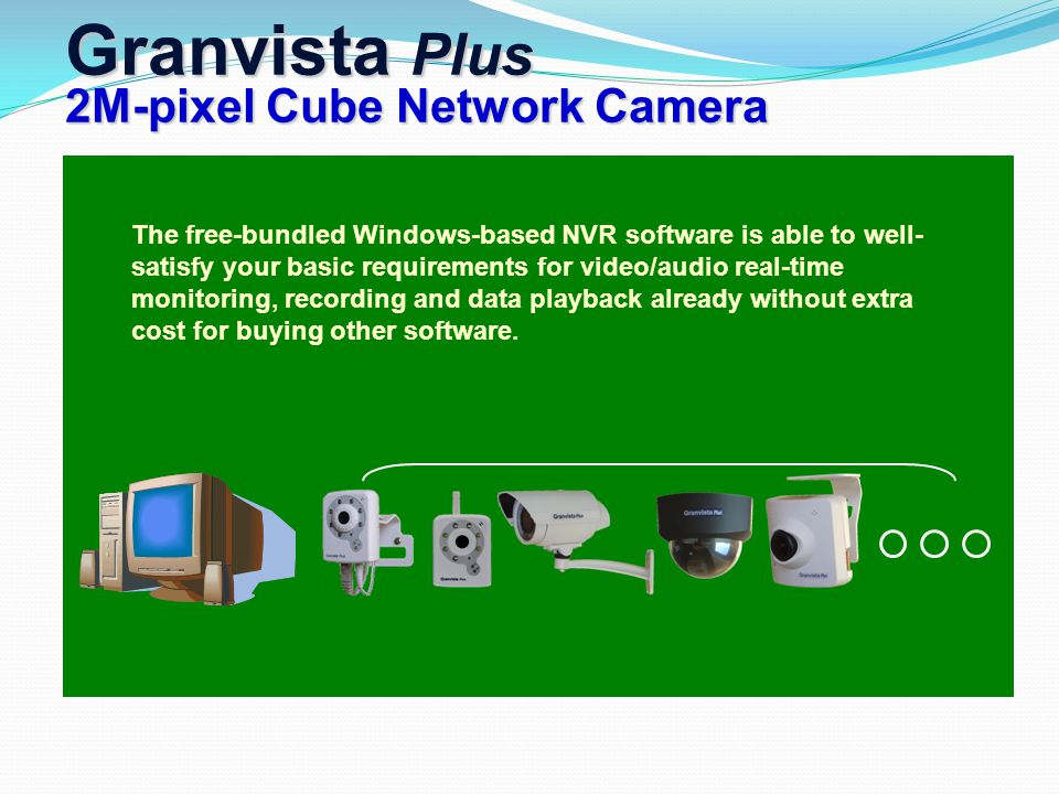 Granvista Plus 2M-pixel Cube Network Camera The free-bundled Windows-based NVR software is able to well- satisfy your basic requirements for video/aud