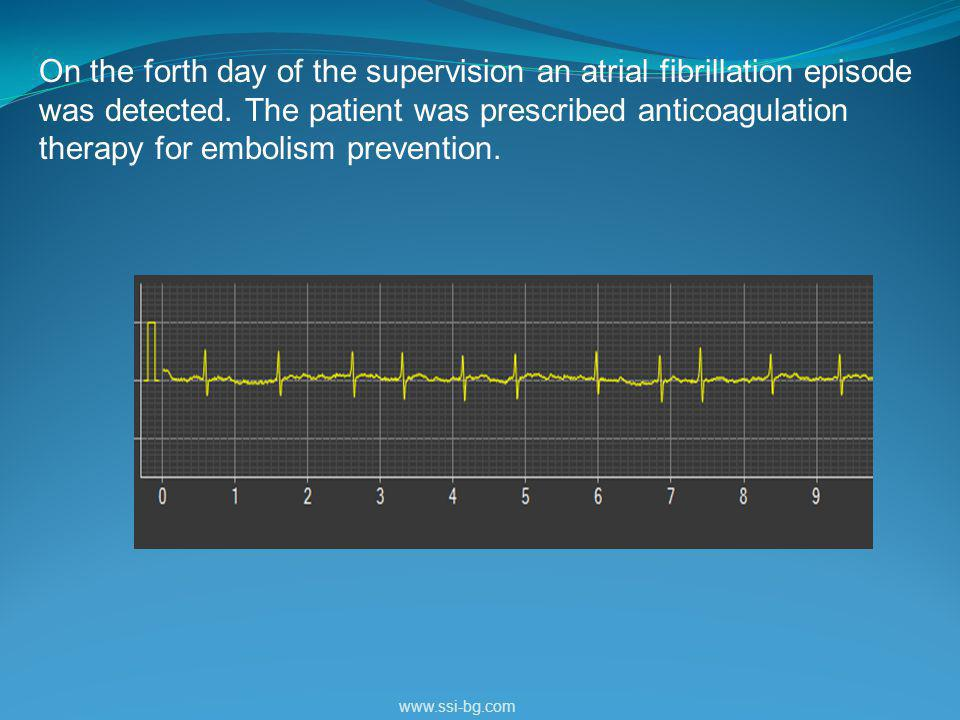 On the forth day of the supervision an atrial fibrillation episode was detected.