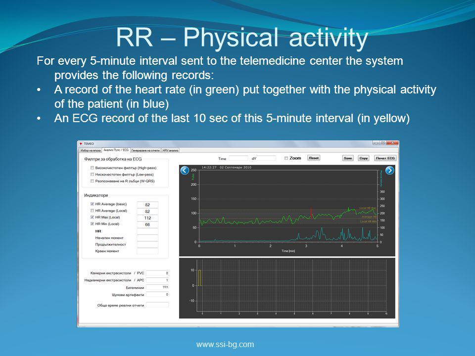 RR – Physical activity www.ssi-bg.com For every 5-minute interval sent to the telemedicine center the system provides the following records: A record of the heart rate (in green) put together with the physical activity of the patient (in blue) An ECG record of the last 10 sec of this 5-minute interval (in yellow)