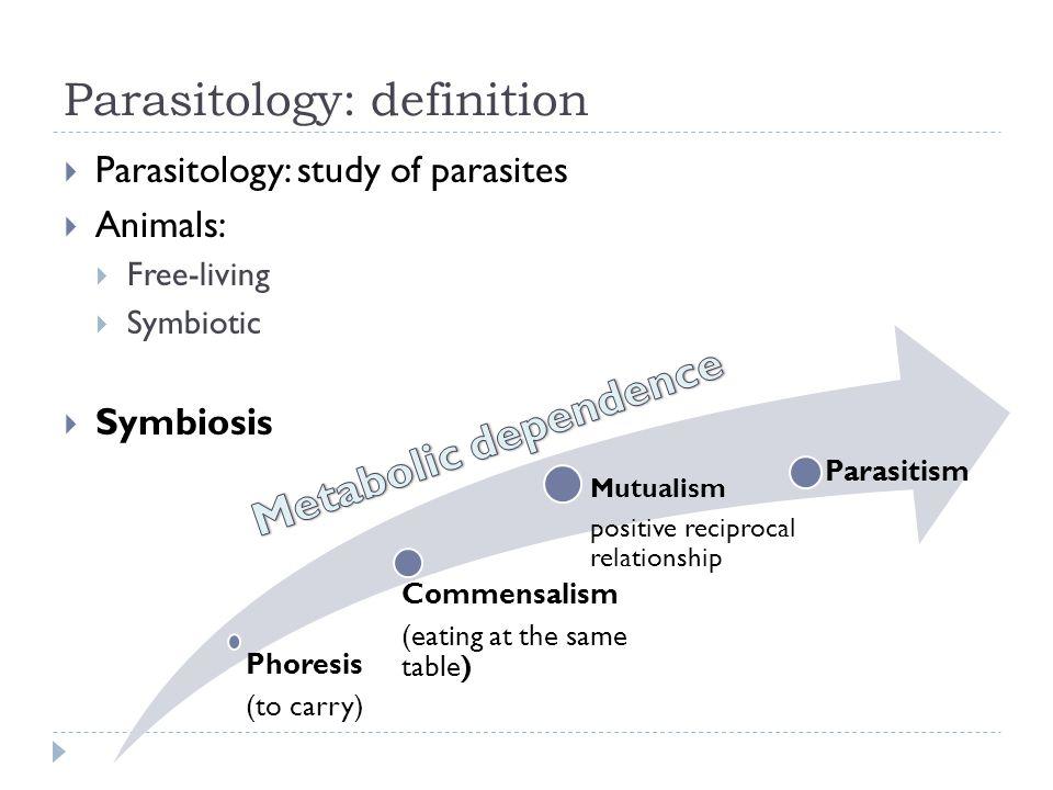 Parasitology: definition Parasitology: study of parasites Animals: Free-living Symbiotic Symbiosis