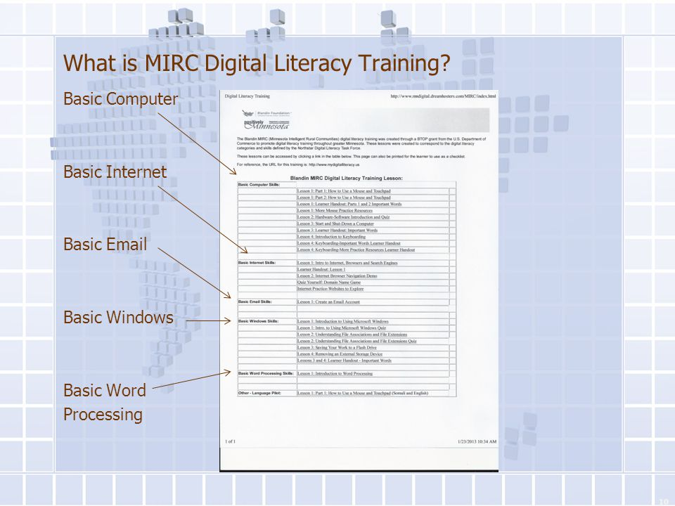 What is MIRC Digital Literacy Training? Basic Computer Basic Internet Basic Email Basic Windows Basic Word Processing Basic Internet 10