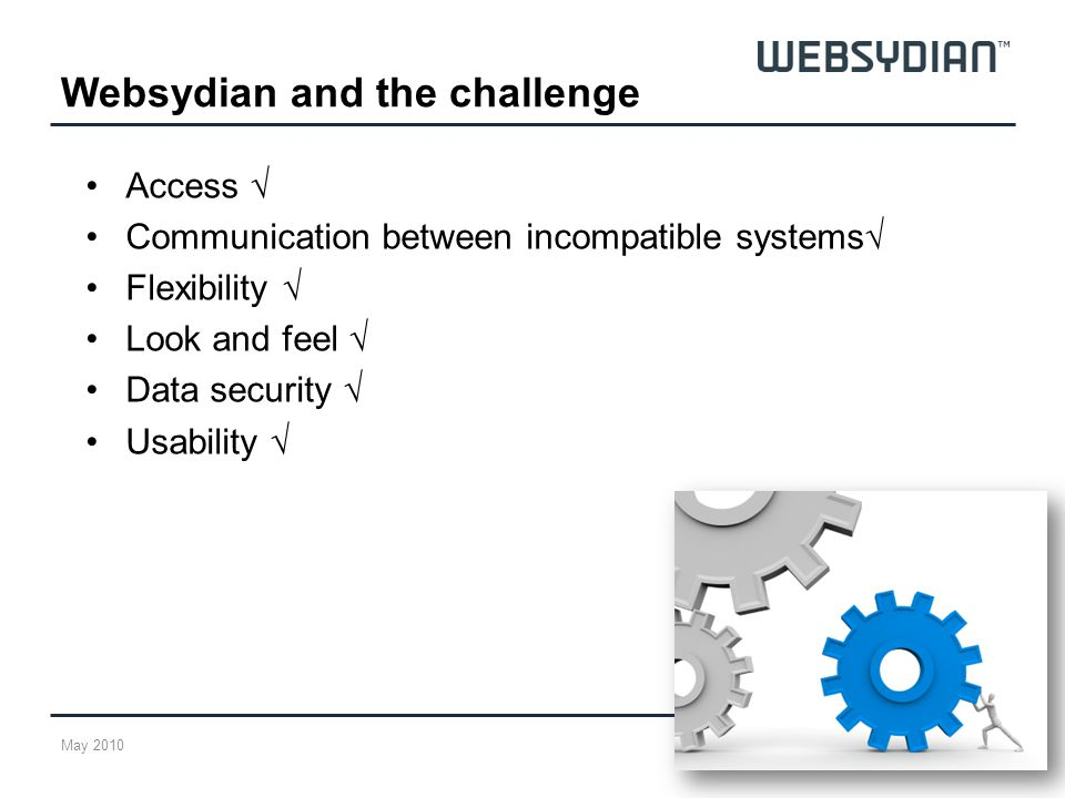 Access Communication between incompatible systems Flexibility Look and feel Data security Usability Websydian and the challenge May 2010