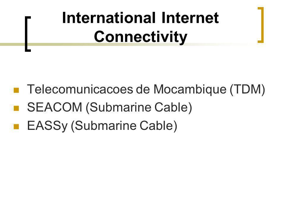 InternationaI Internet Connectivity Telecomunicacoes de Mocambique (TDM) SEACOM (Submarine Cable) EASSy (Submarine Cable)