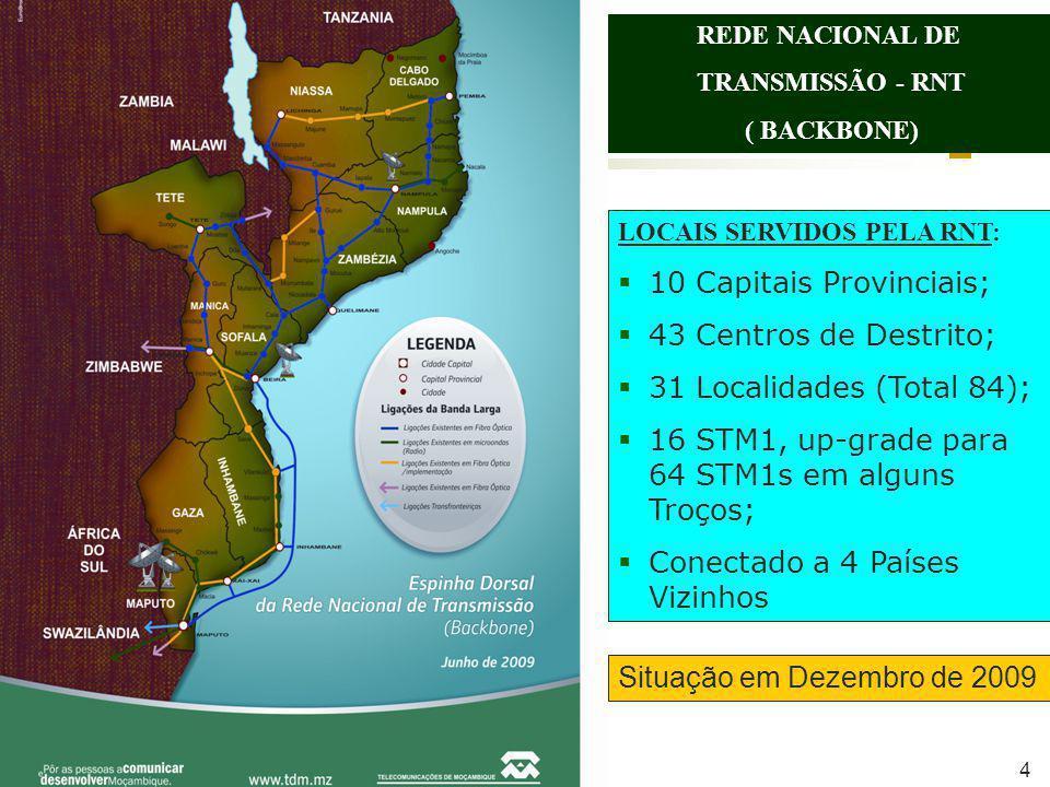 LOCAIS SERVIDOS PELA RNT: 10 Capitais Provinciais; 43 Centros de Destrito; 31 Localidades (Total 84); 16 STM1, up-grade para 64 STM1s em alguns Troços; Conectado a 4 Países Vizinhos Situação em Dezembro de 2009 REDE NACIONAL DE TRANSMISSÃO - RNT ( BACKBONE) 4