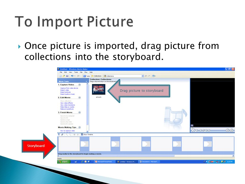 Click on Import Pictures and choose picture to import into your collections