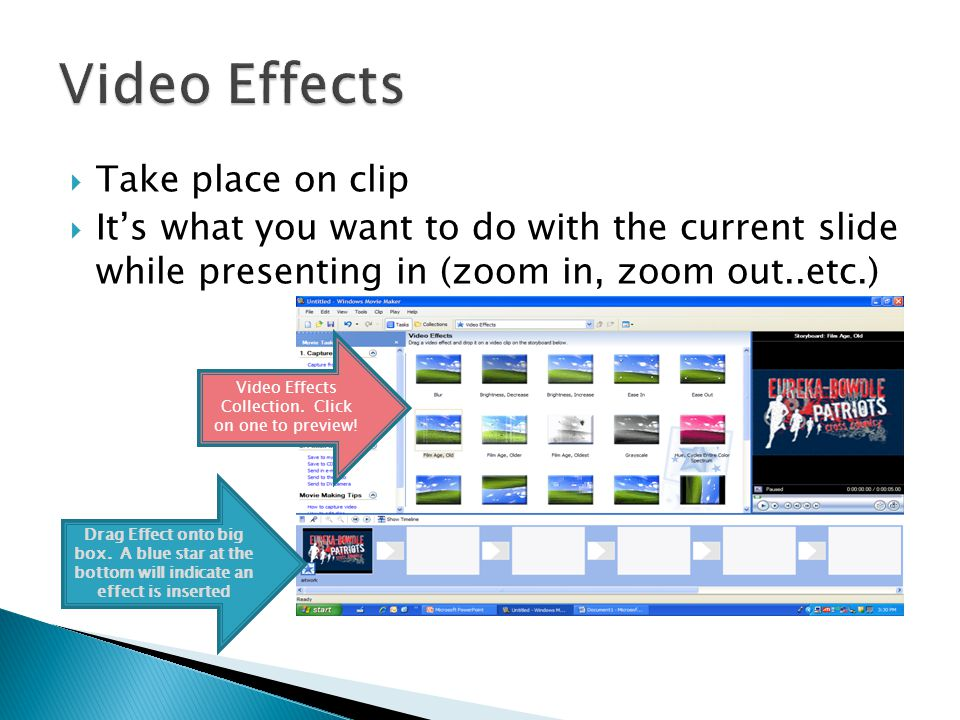 Click on View Video Effects Choose the one effect you would like Drag it on top of the clip you want the effect on View Click to add effect Drag effect onto the clip