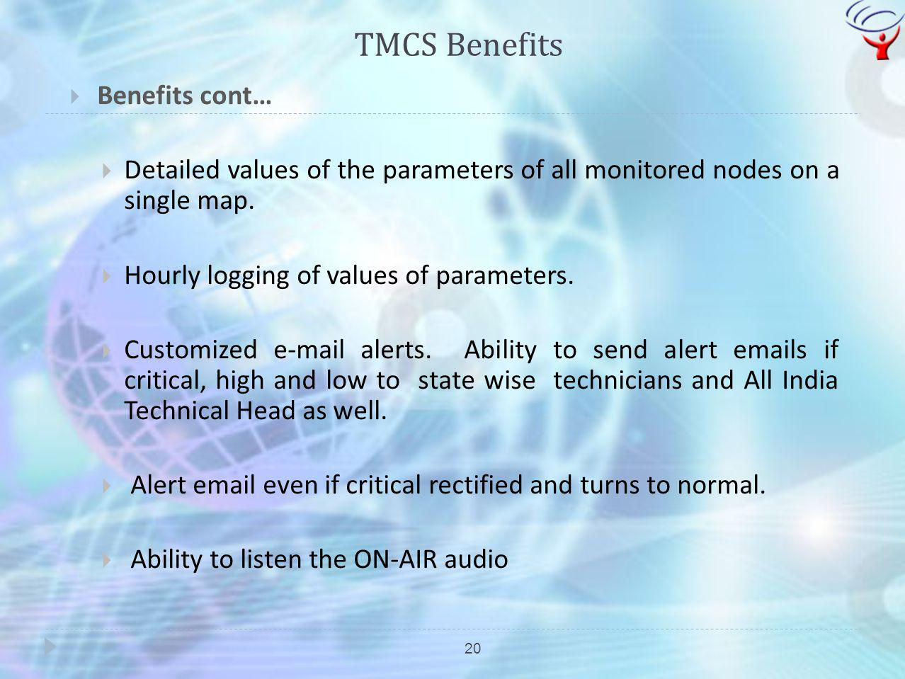 TMCS Benefits 20 Benefits cont… Detailed values of the parameters of all monitored nodes on a single map. Hourly logging of values of parameters. Cust