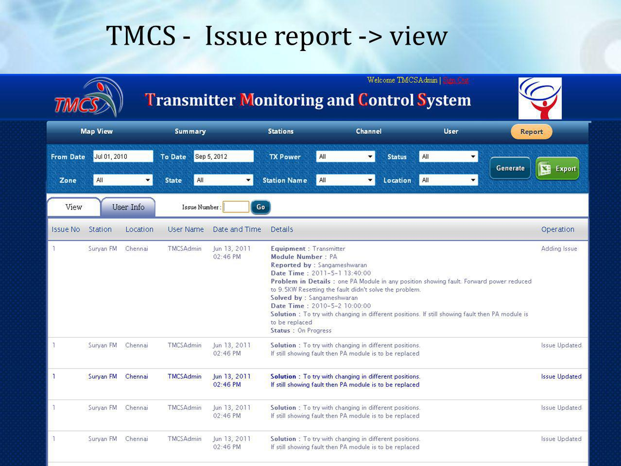 35 TMCS - Issue report -> view