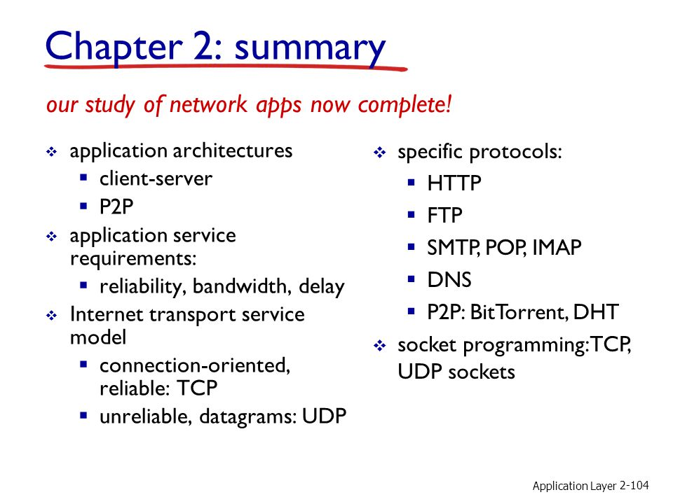 Application Layer 2-104 Chapter 2: summary application architectures client-server P2P application service requirements: reliability, bandwidth, delay